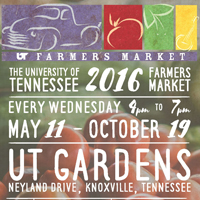 UT Farmers Market <br> May 11th - Oct 19th<br>  UT Gardens