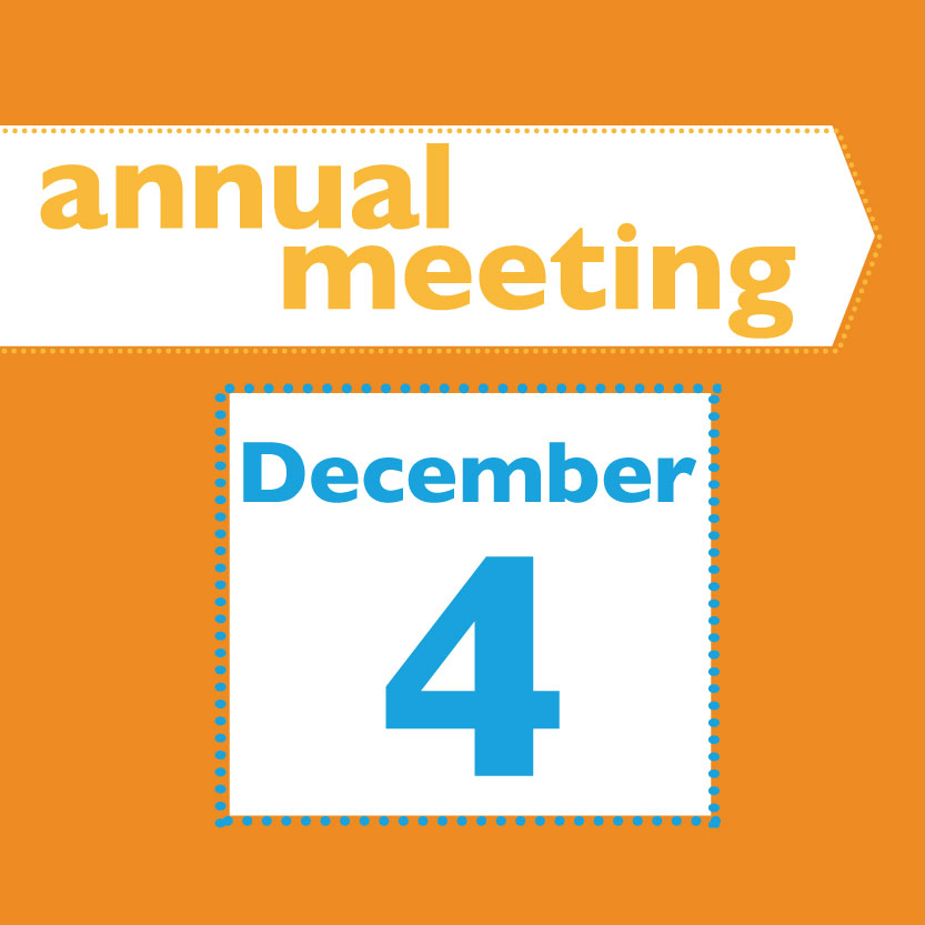 Annual Meeting<br>December 4th<br> 6 PM - 8 PM<br>St. James Episcopal Church Parish Hall