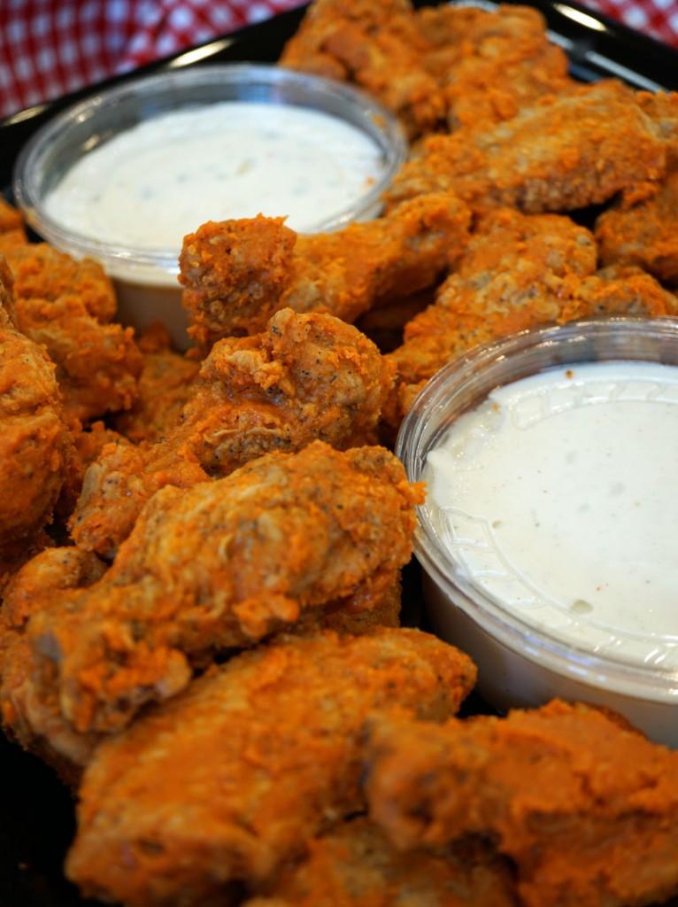 Buffalo Chicken with Ranch & Bleu Cheese Dips